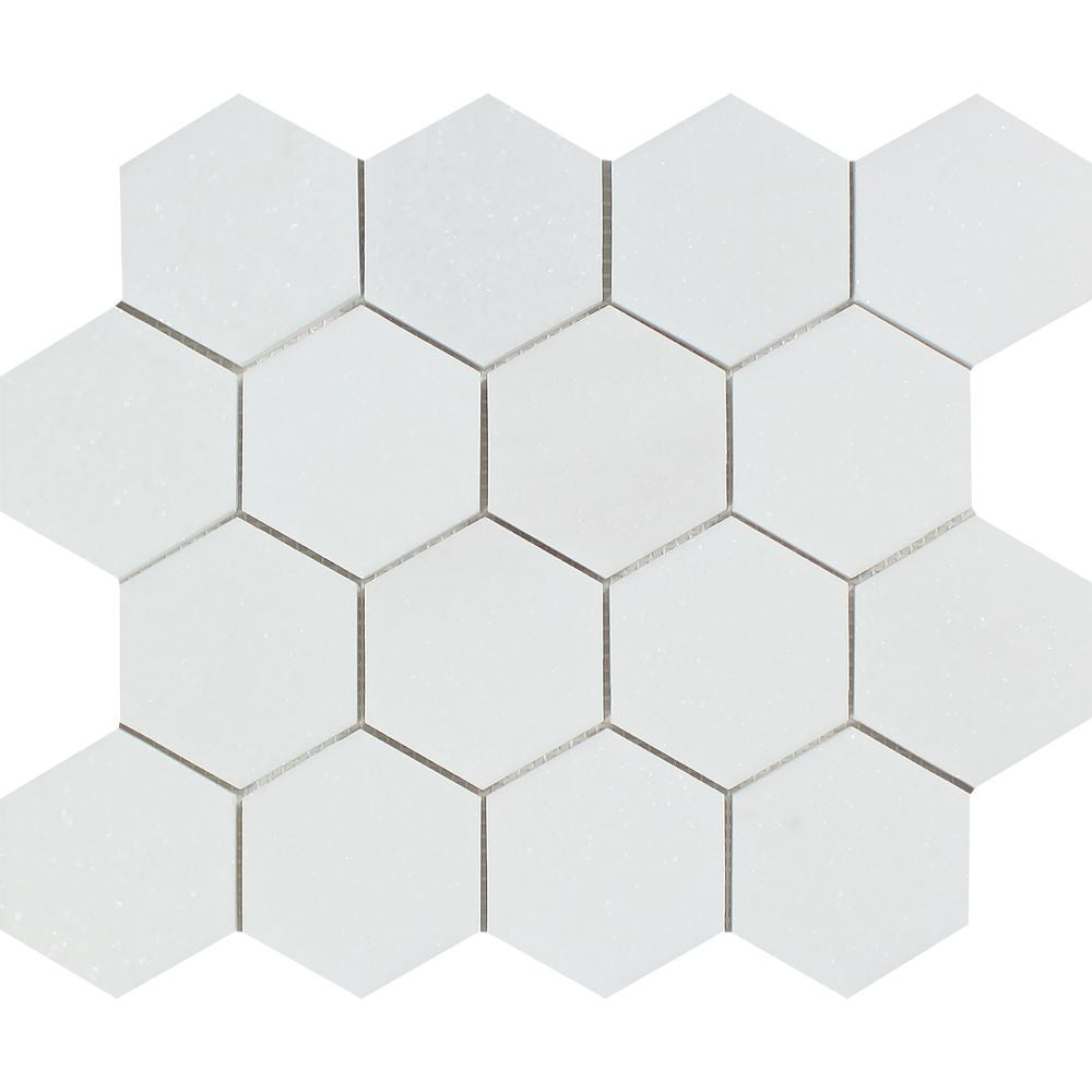 3 x 3 Polished Thassos White Marble Hexagon Mosaic Tile - Tilephile