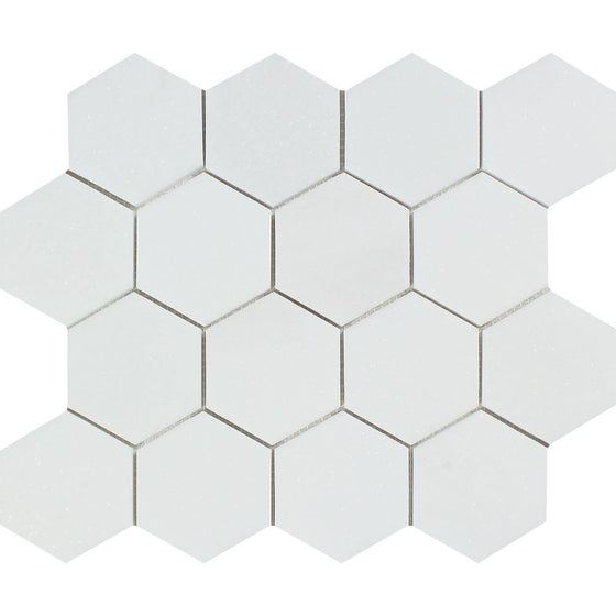 3 x 3 Polished Thassos White Marble Hexagon Mosaic Tile