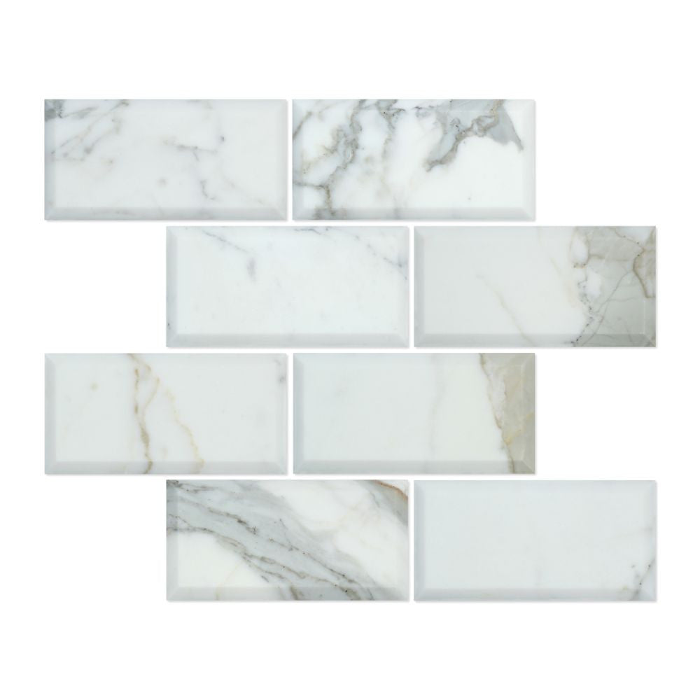 3 x 6 Deep-Beveled Honed Calacatta Gold Marble Tile Sample - Tilephile