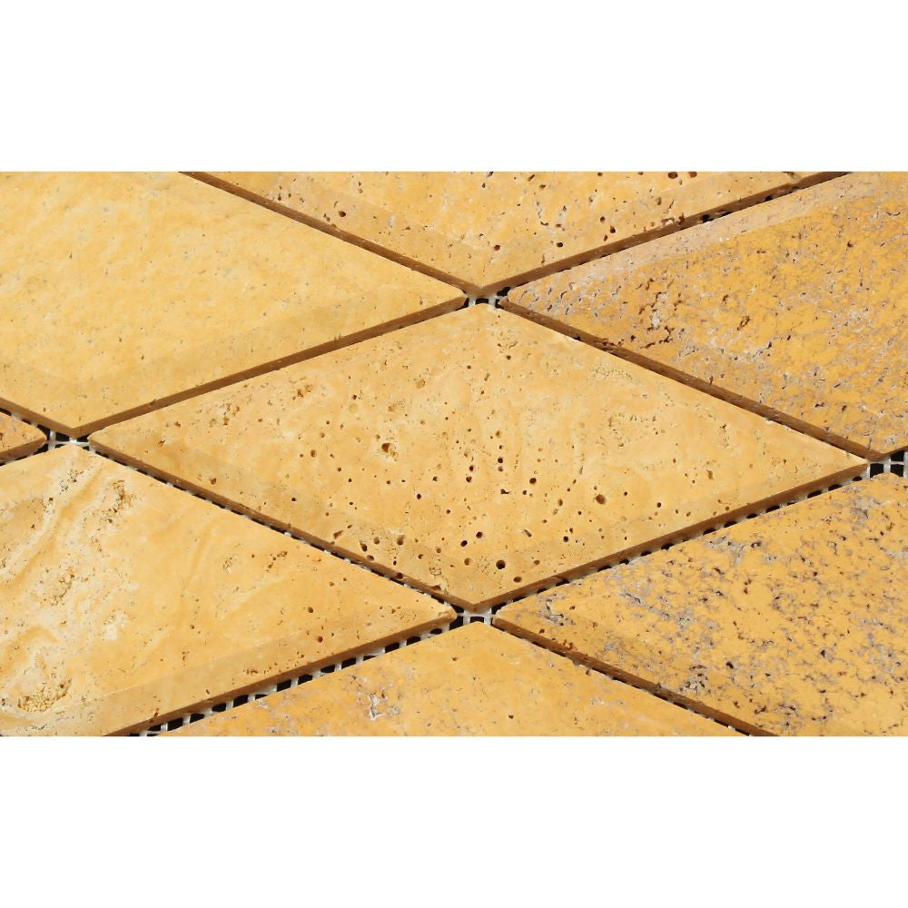 3 x 6 Honed Gold Travertine Deep-Beveled Diamond Mosaic Tile - Tilephile
