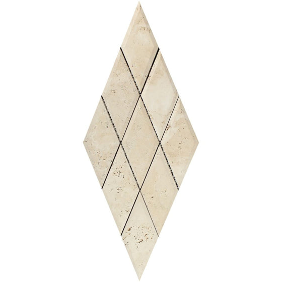 3 x 6 Honed Ivory Travertine Deep-Beveled Diamond Mosaic Tile - Tilephile