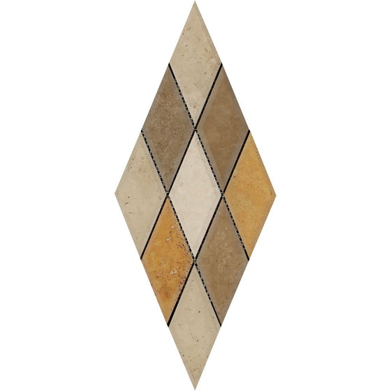3 x 6 Honed Mixed Travertine Deep-Beveled Diamond Mosaic Tile (Ivory + Noce + Gold)