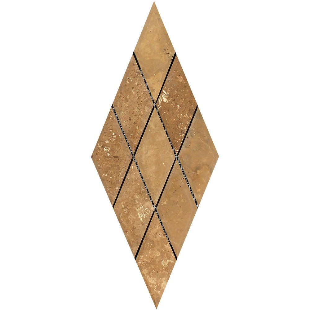 3 x 6 Honed Noce Travertine Deep-Beveled Diamond Mosaic Tile - Tilephile