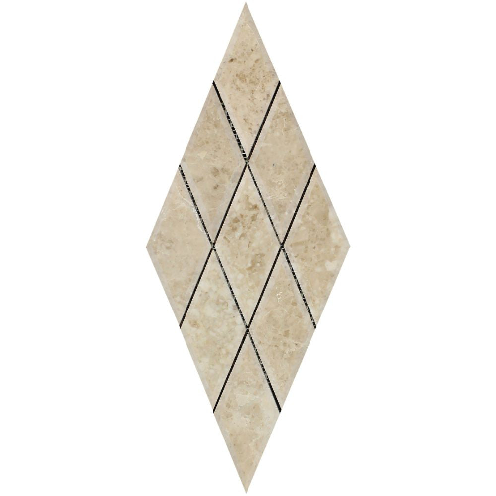 3 x 6 Polished Cappuccino Marble Deep-Beveled Diamond Mosaic Tile - Tilephile