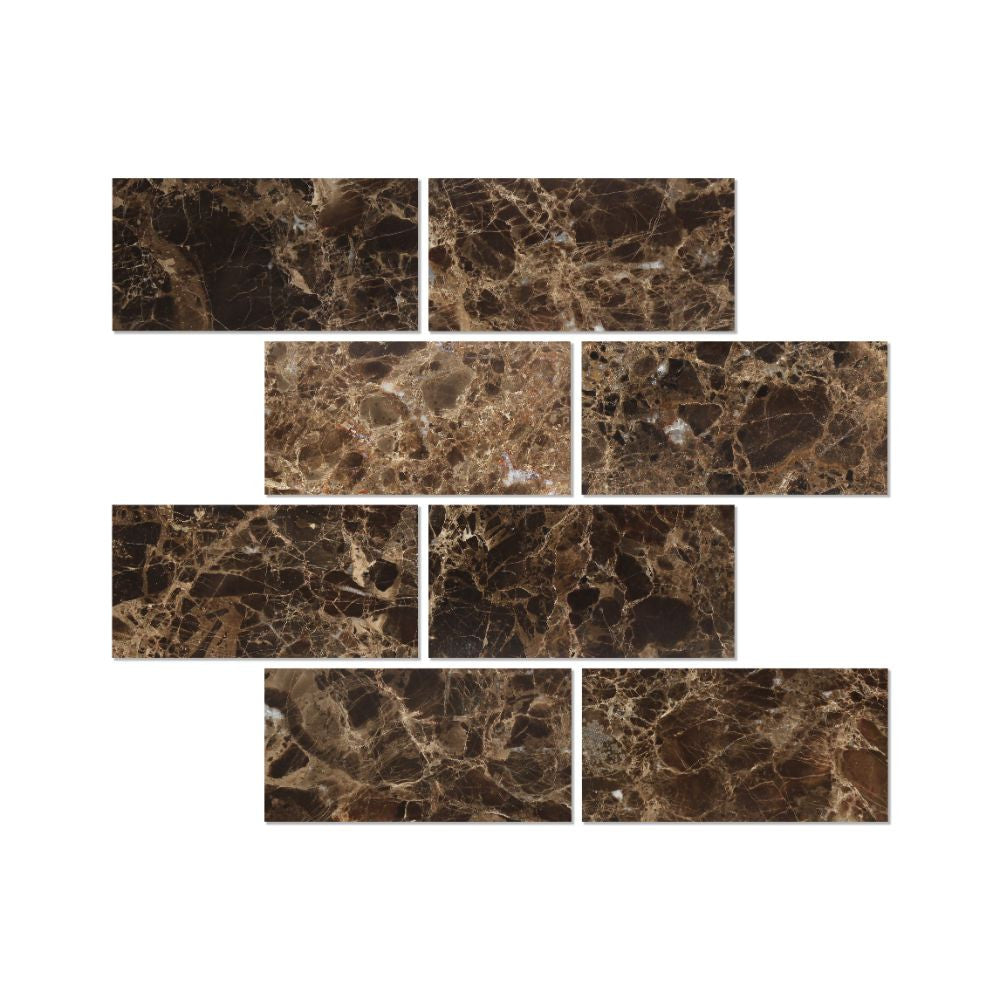 3 x 6 Polished Emperador Dark Marble Tile - Tilephile