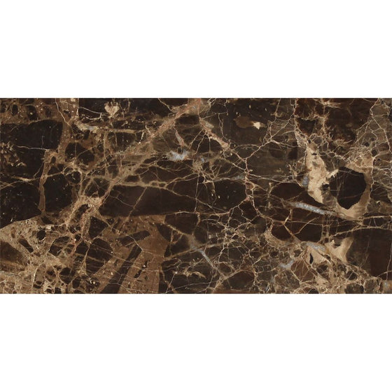 3 x 6 Polished Emperador Dark Marble Tile