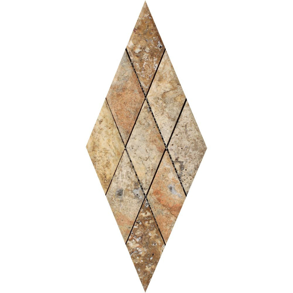 3 x 6 Polished Scabos Travertine Deep-Beveled Diamond Mosaic Tile Sample - Tilephile