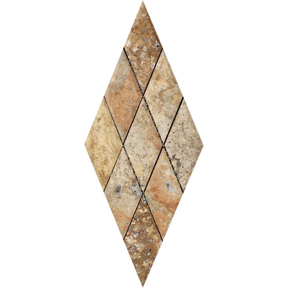 3 x 6 Polished Scabos Travertine Deep-Beveled Diamond Mosaic Tile