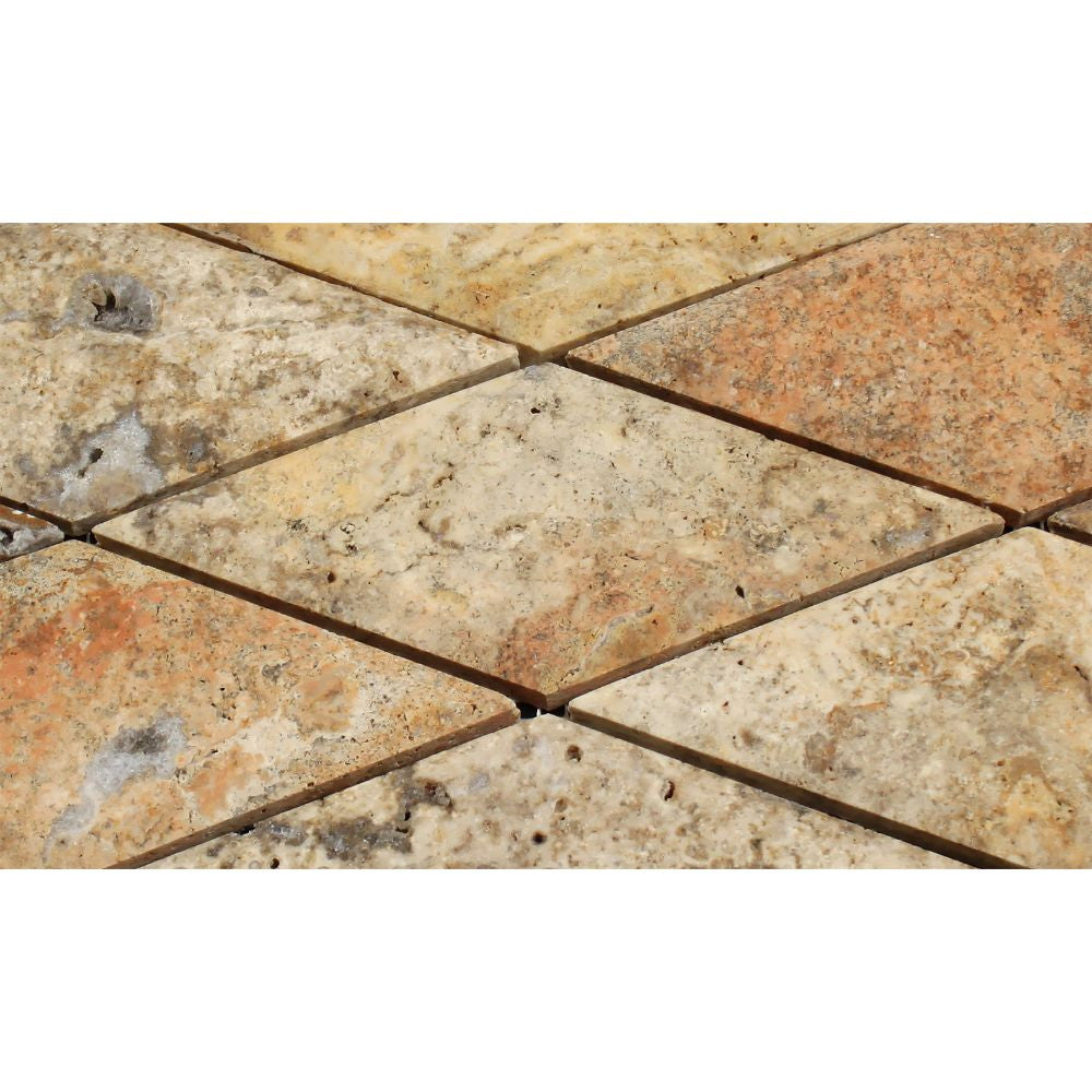 3 x 6 Polished Scabos Travertine Deep-Beveled Diamond Mosaic Tile - Tilephile
