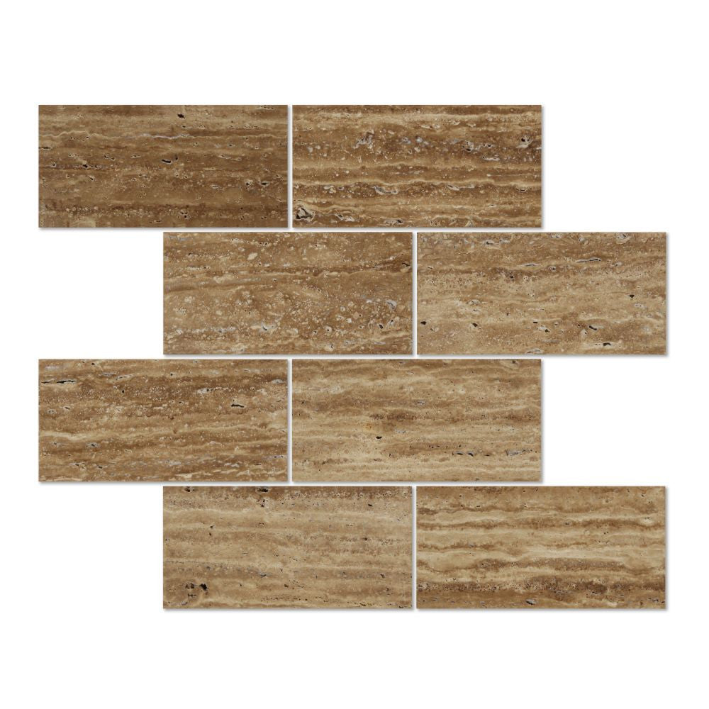3 x 6 Unfilled, Polished Noce Exotic (Vein-Cut) Travertine Tile - Tilephile