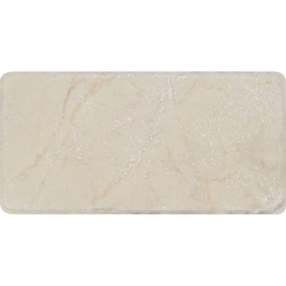 3 x 6 Tumbled Crema Marfil Marble Tile Sample - Tilephile