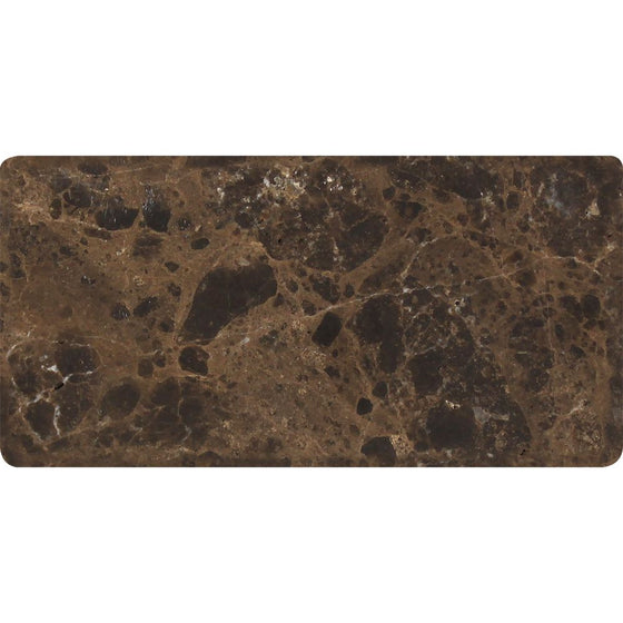 3 x 6 Tumbled Emperador Dark Marble Tile - Tilephile