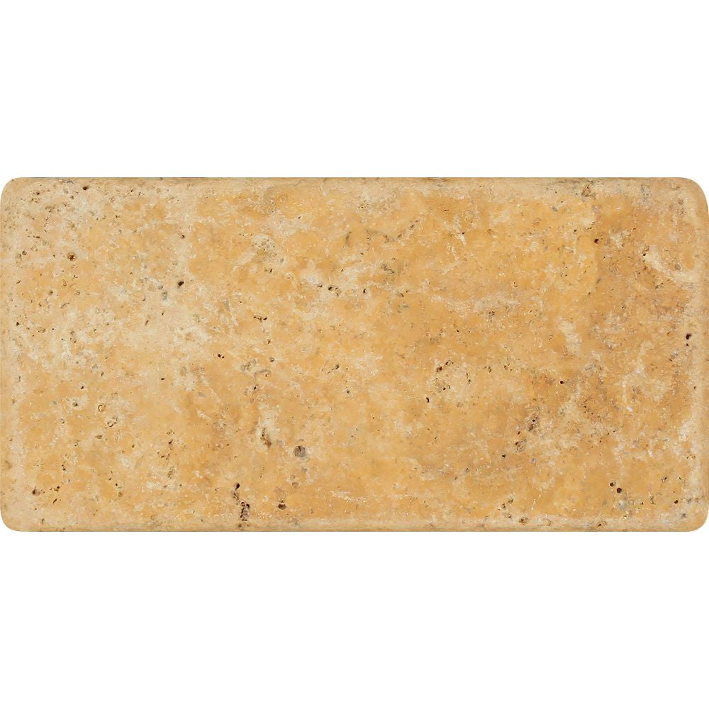 3 x 6 Tumbled Gold Travertine Tile Sample
