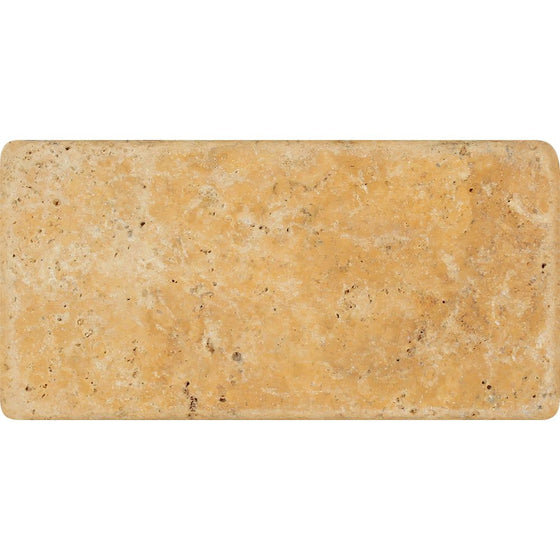 3 x 6 Tumbled Gold Travertine Tile - Tilephile