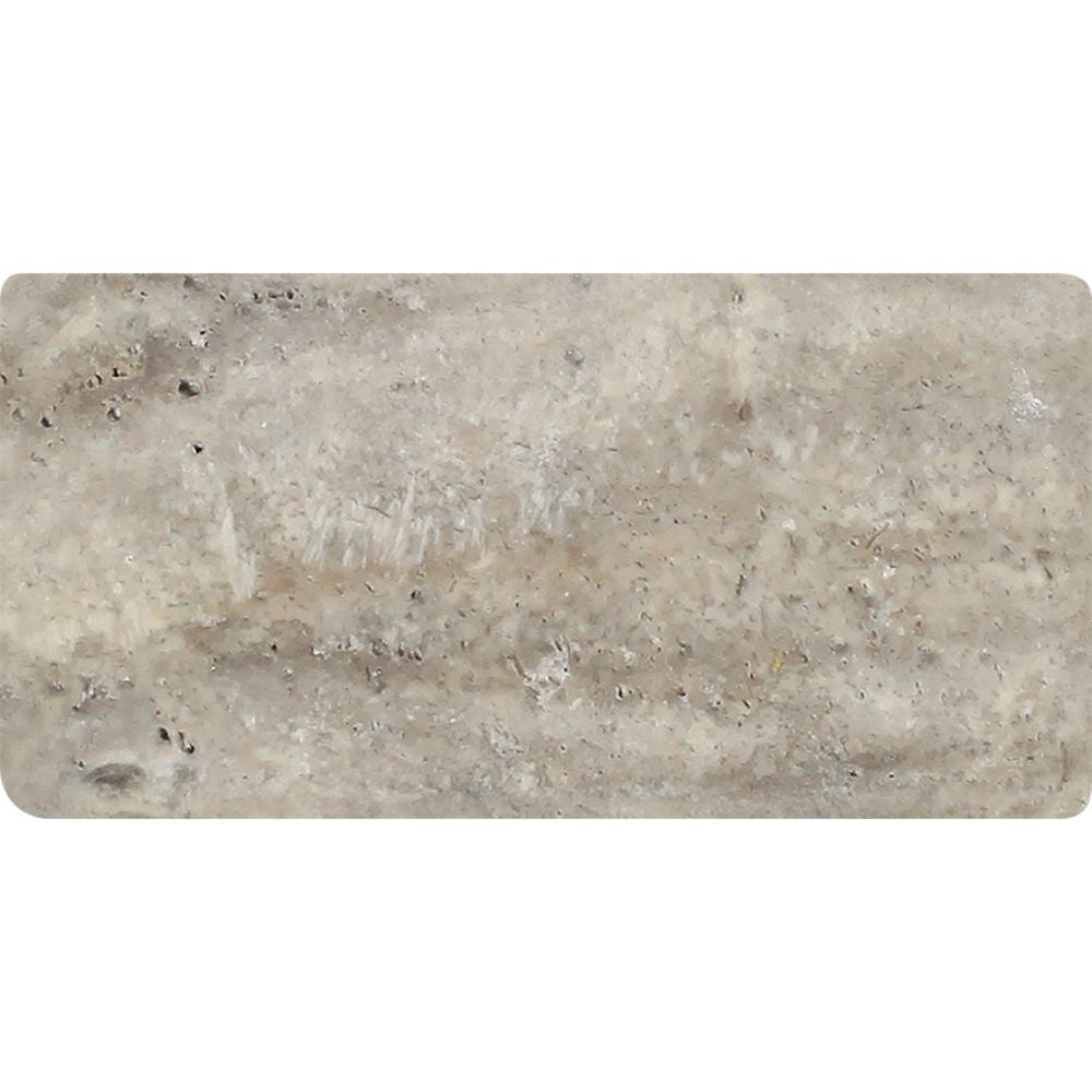 3 x 6 Tumbled Silver Travertine Tile Sample - Tilephile