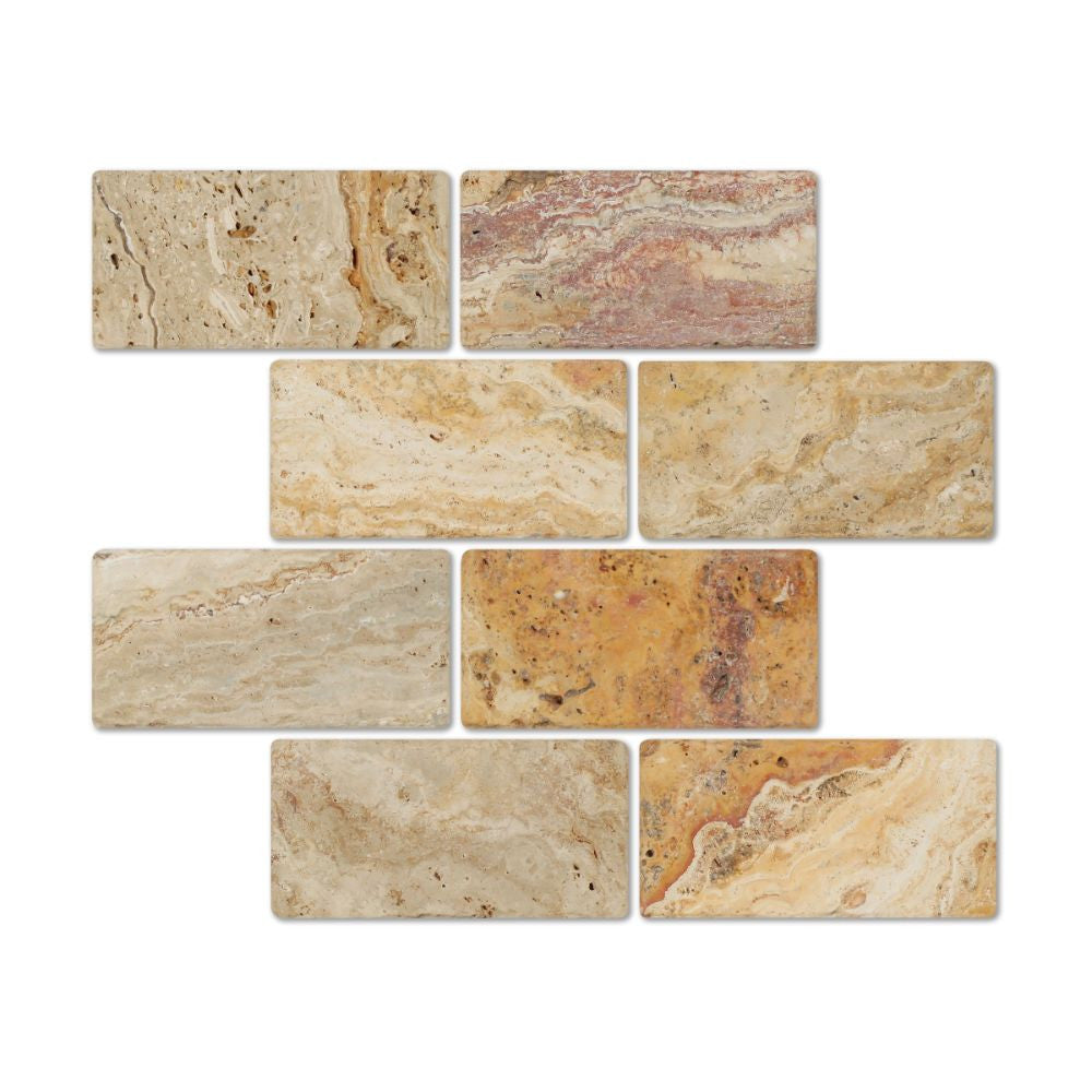 3 x 6 Tumbled Valencia Travertine Tile - Tilephile