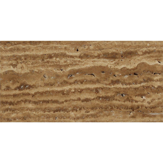 3 x 6 Unfilled, Brushed Noce Exotic (Vein-Cut) Travertine Tile - Tilephile