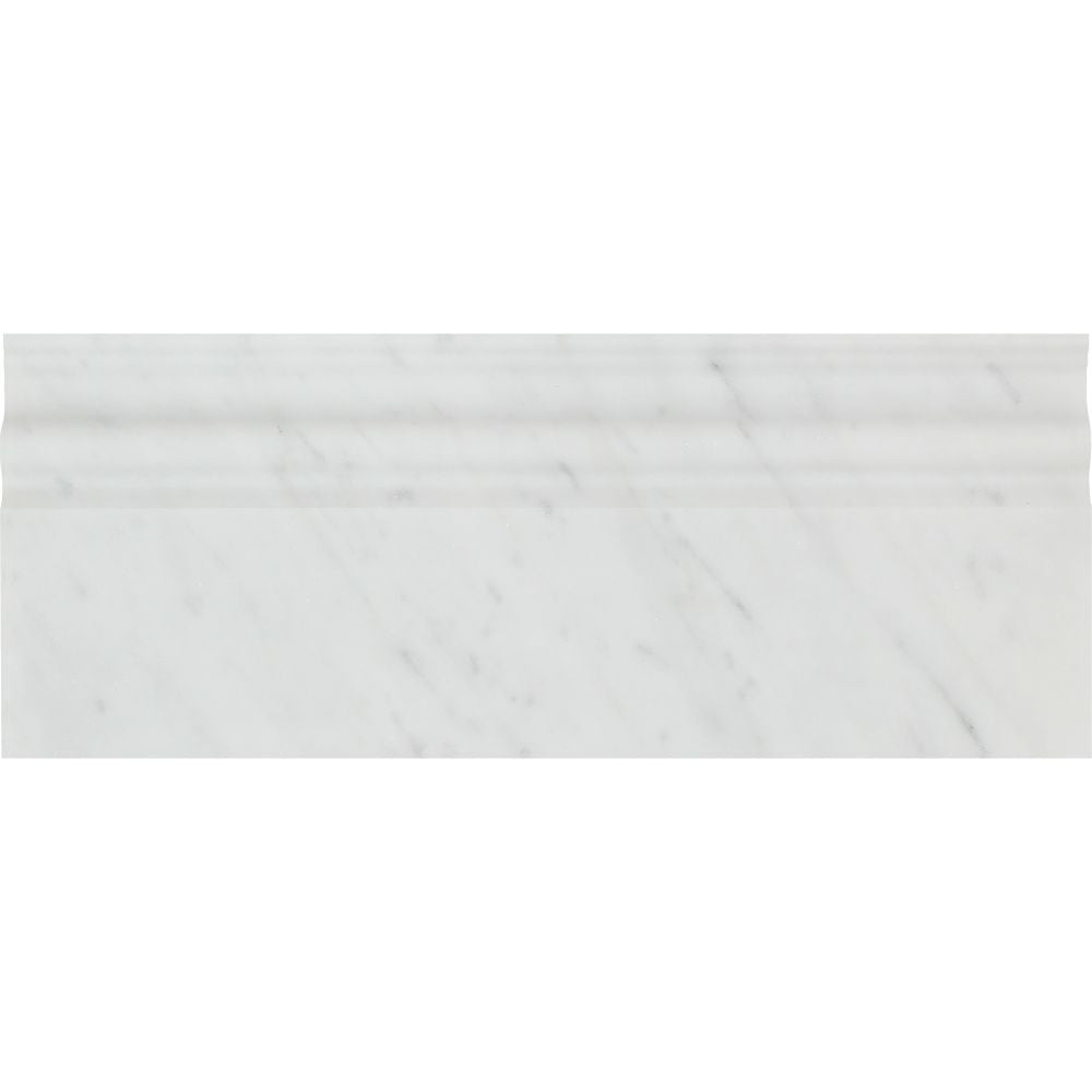 4 3/4 x 12 Honed Bianco Carrara Marble Baseboard Trim Sample - Tilephile