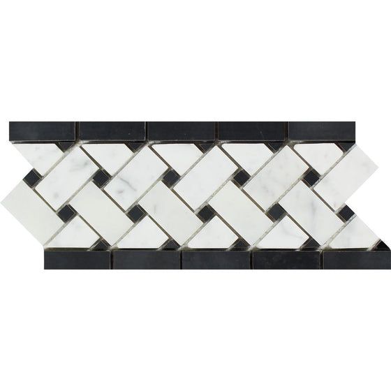 4 3/4 x 12 Honed Bianco Carrara Marble Basketweave Border w/ Black Dots - Tilephile