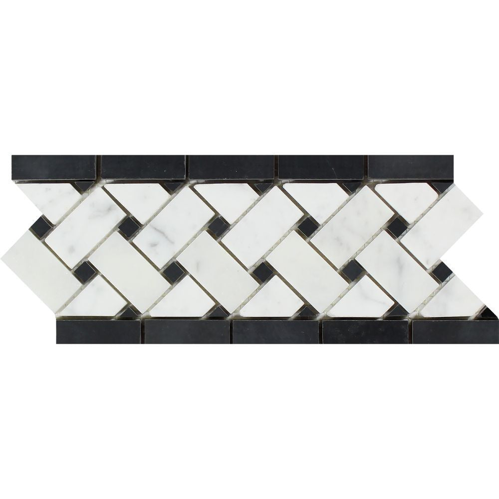 4 3/4 x 12 Polished Bianco Carrara Marble Basketweave Border w/ Black Dots Sample - Tilephile