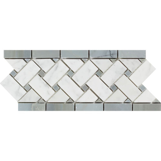 4 3/4 x 12 Polished Bianco Carrara Marble Basketweave Border w/ Blue-Gray Dots - Tilephile