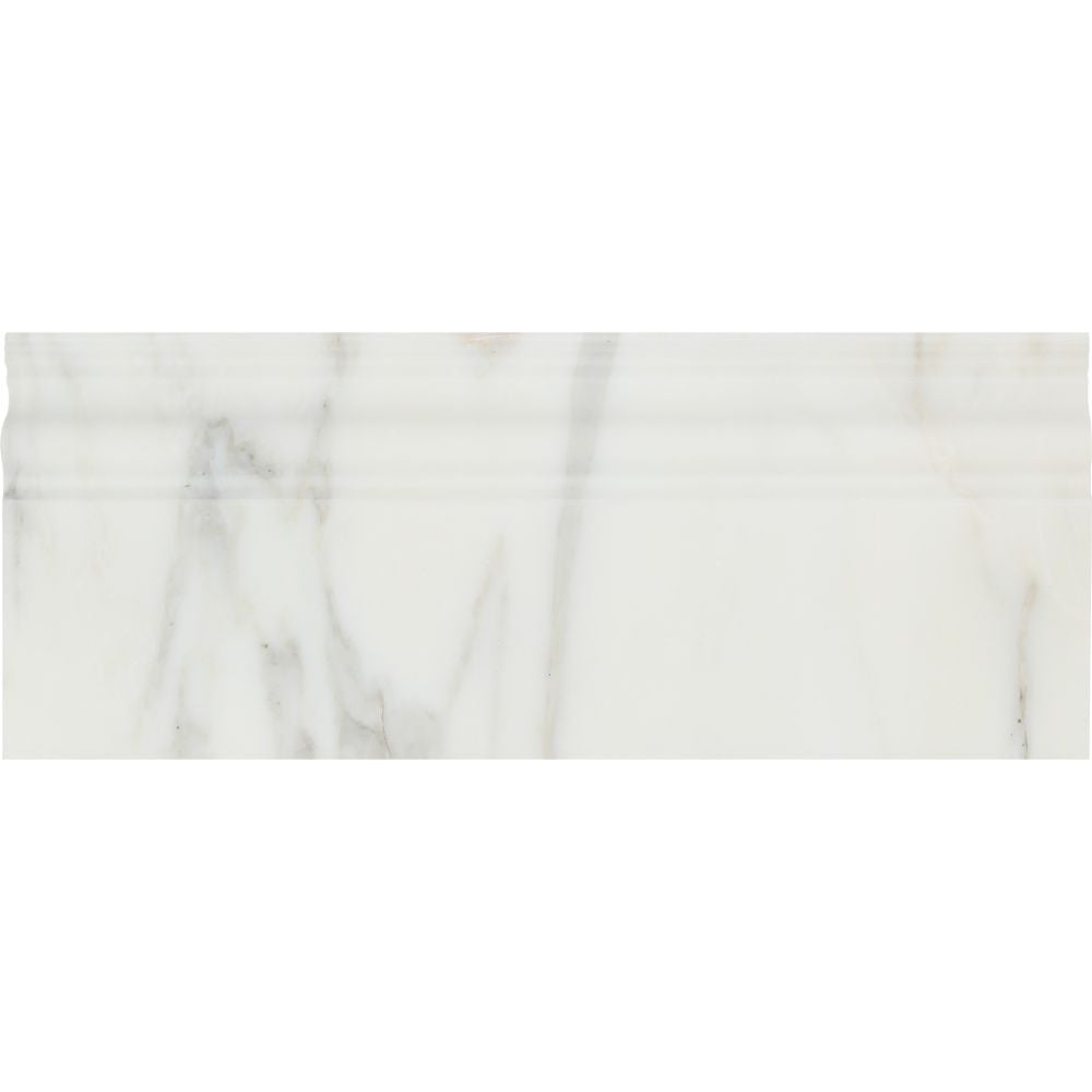 4 3/4 x 12 Polished Calacatta Gold Marble Baseboard Trim Sample - Tilephile