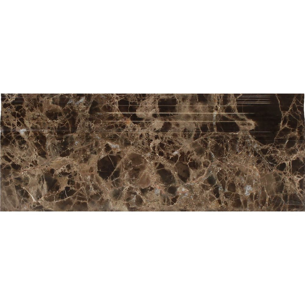 4 3/4 x 12 Polished Emperador Dark Marble Baseboard Trim Sample - Tilephile