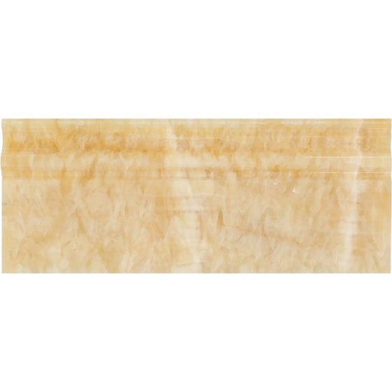 4 3/4 x 12 Polished Honey Onyx Baseboard Trim - Tilephile