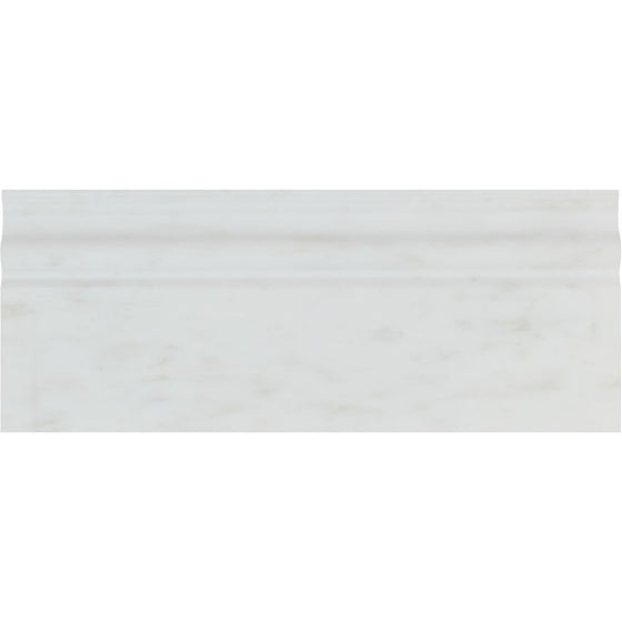 4 3/4 x 12 Polished Oriental White Marble Baseboard Trim - Tilephile