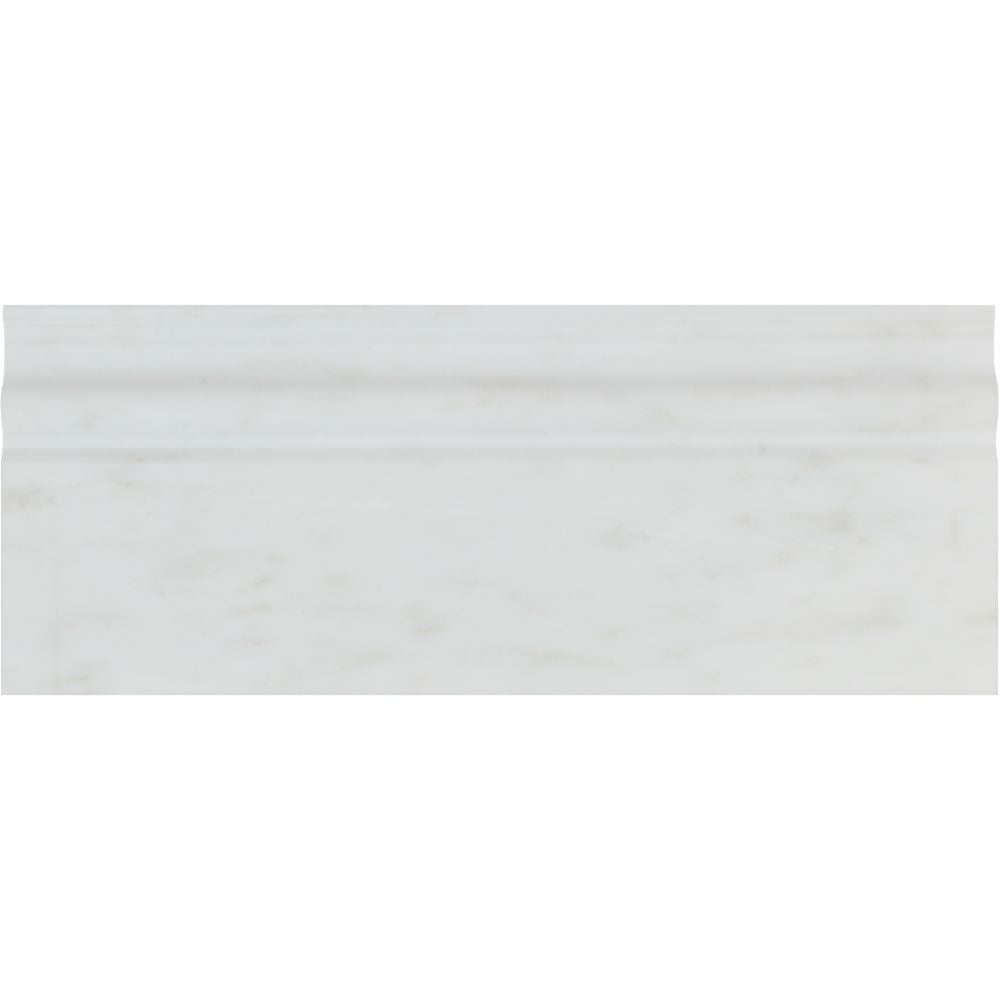 4 3/4 x 12 Polished Oriental White Marble Baseboard Trim Sample - Tilephile
