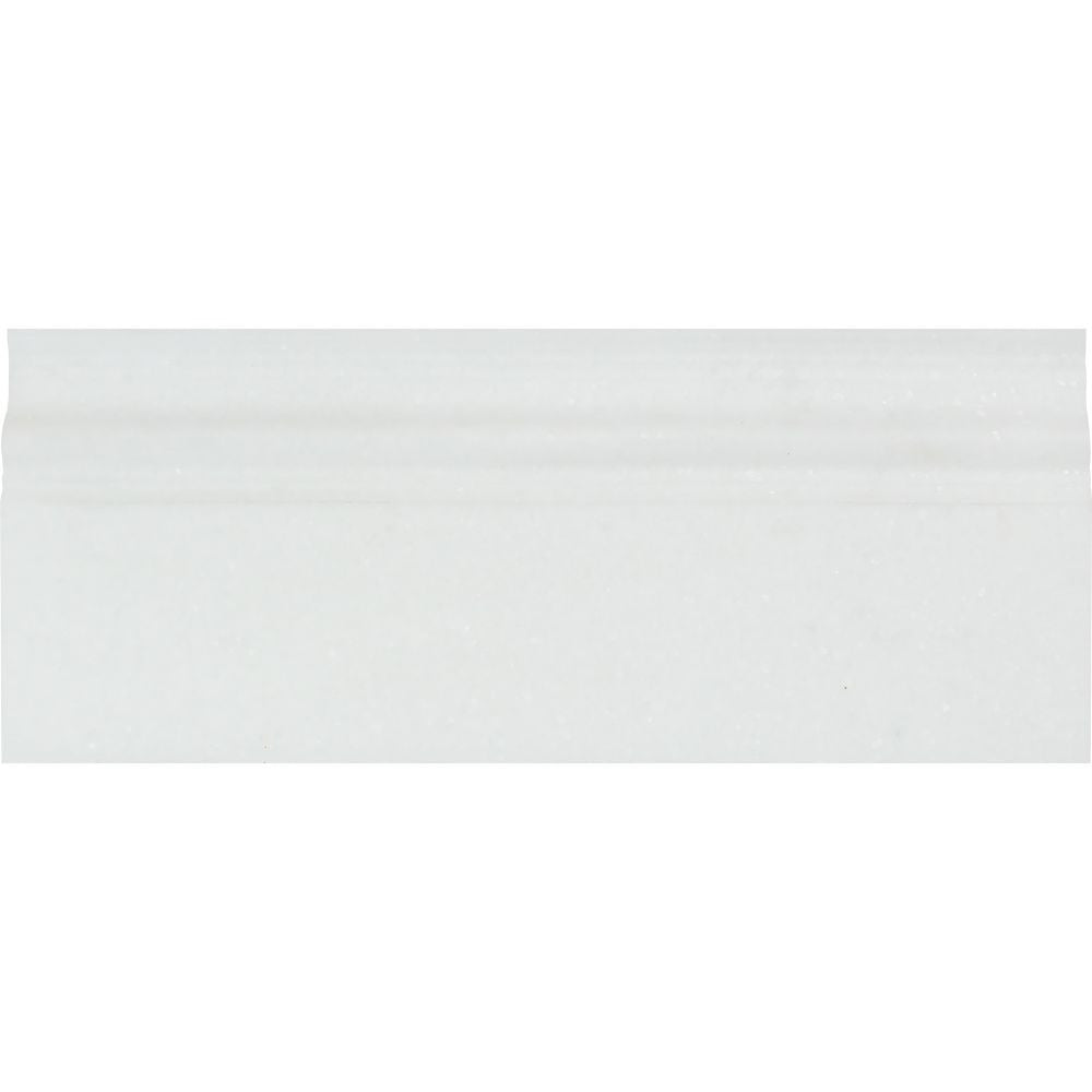 4 3/4 x 12 Polished Thassos White Marble Baseboard Trim Sample - Tilephile
