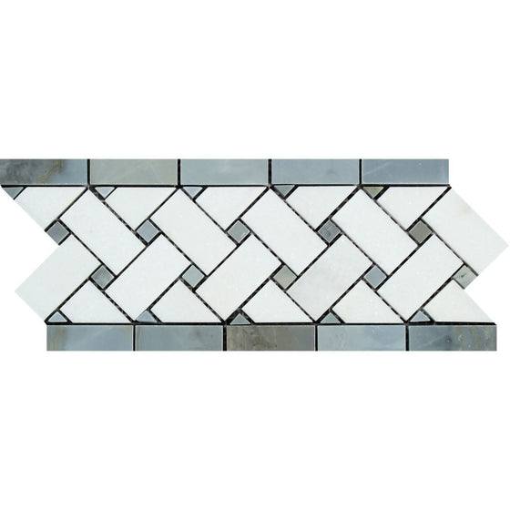 4 3/4 x 12 Polished Thassos White Marble Basketweave Border w/ Blue-Gray Dots