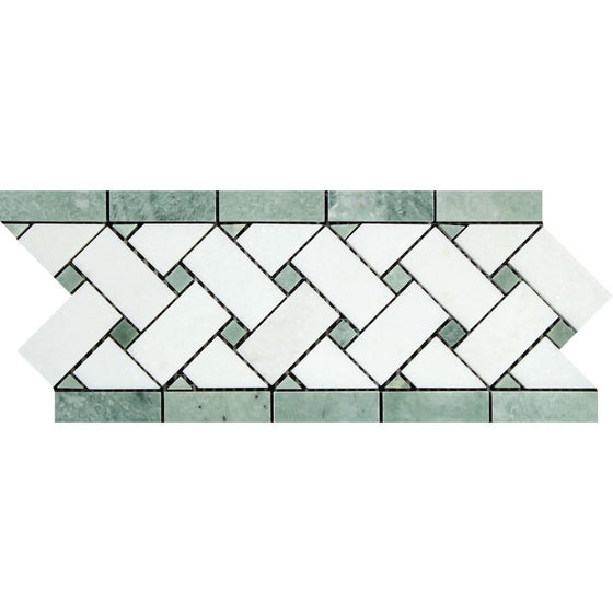 4 3/4 x 12 Polished Thassos White Marble Basketweave Border w/ Ming Green Dots