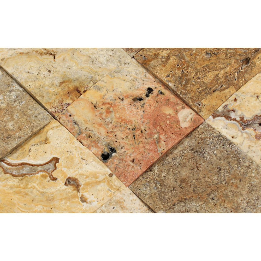 4 x 4 CNC-Arched Scabos Travertine Tile - Tilephile