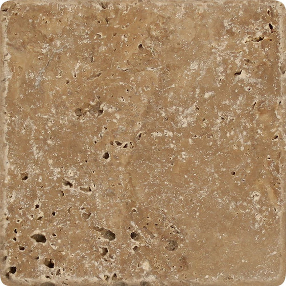 4 x 4 Honed Noce Travertine Tile - Tilephile
