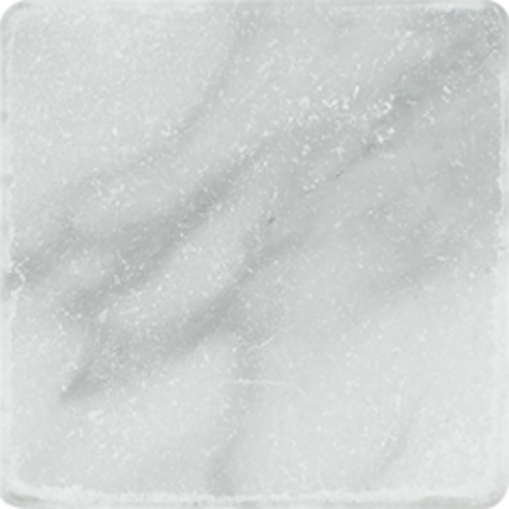 4 x 4 Tumbled Bianco Mare Marble Tile Sample - Tilephile