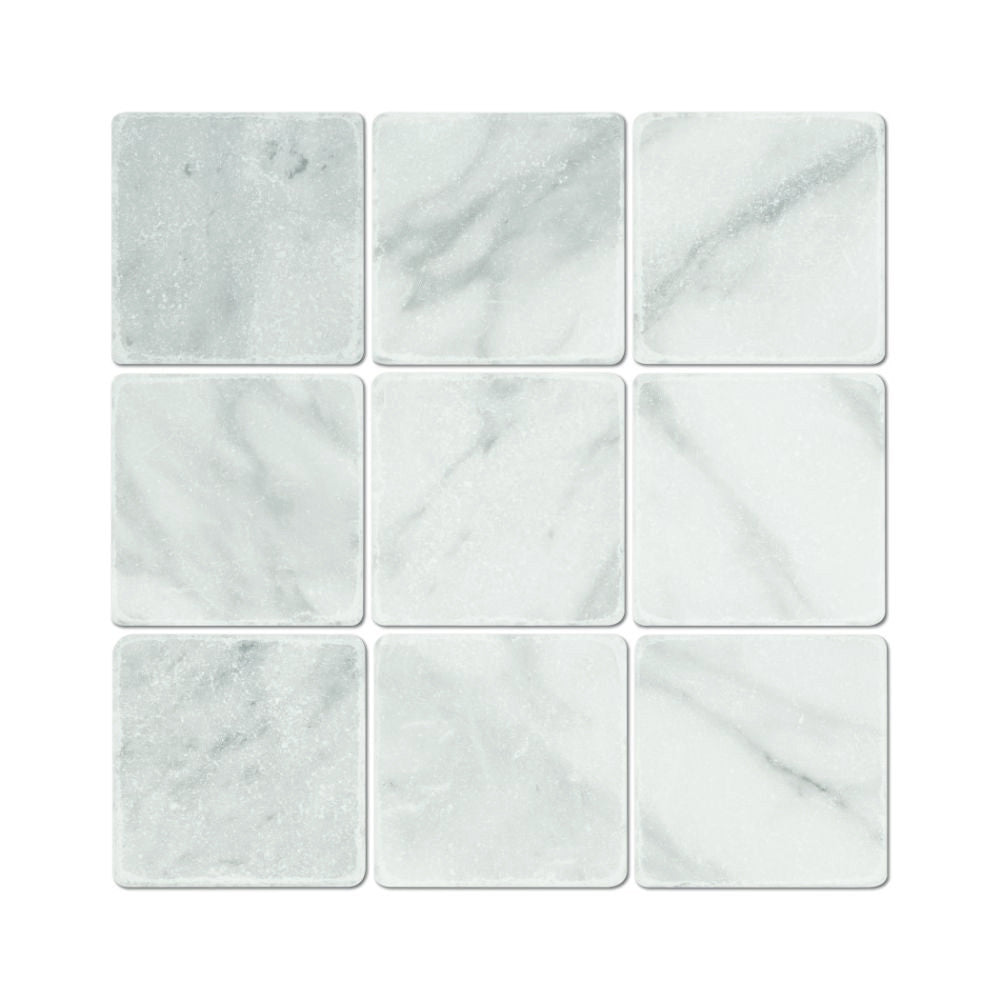 4 x 4 Tumbled Bianco Mare Marble Tile - Tilephile
