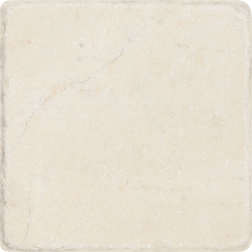 4 x 4 Tumbled Crema Marfil Marble Tile Sample - Tilephile