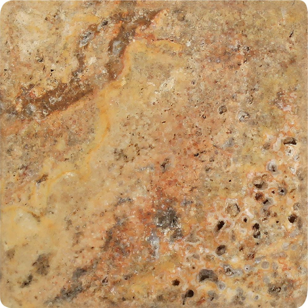 4 x 4 Tumbled Scabos Travertine Tile Sample - Tilephile