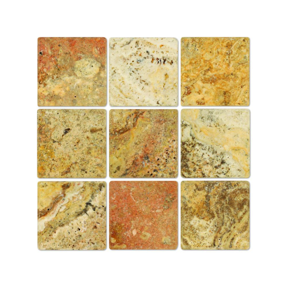 4 x 4 Tumbled Scabos Travertine Tile - Tilephile