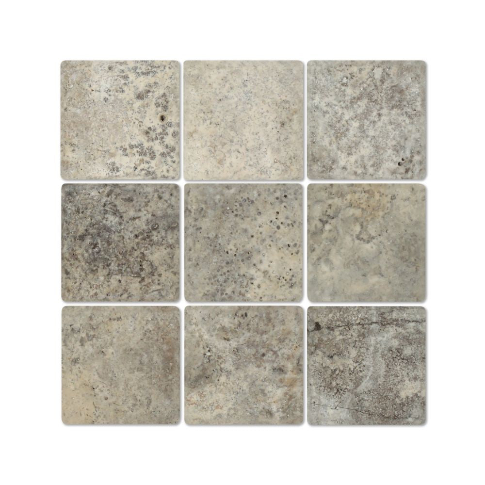 4 x 4 Tumbled Silver Travertine Tile - Tilephile