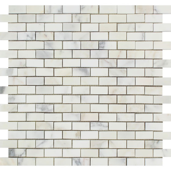 5/8 x 1 1/4 Honed Calacatta Gold Marble Baby Brick Mosaic Tile