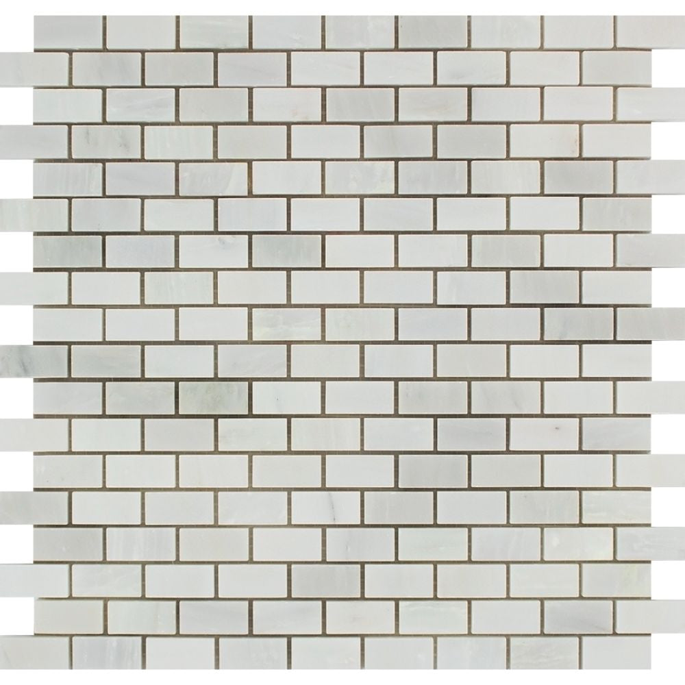 5/8 x 1 1/4 Honed Oriental White Marble Baby Brick Mosaic Tile Sample - Tilephile