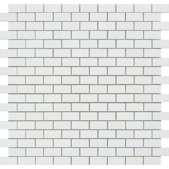 5/8 x 1 1/4 Honed Thassos White Marble Baby Brick Mosaic Tile