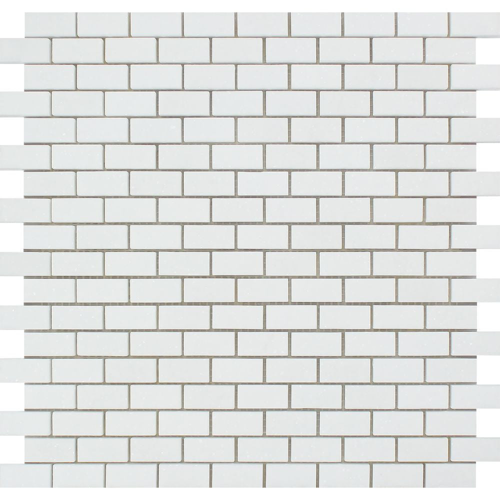 5/8 x 1 1/4 Honed Thassos White Marble Baby Brick Mosaic Tile Sample - Tilephile