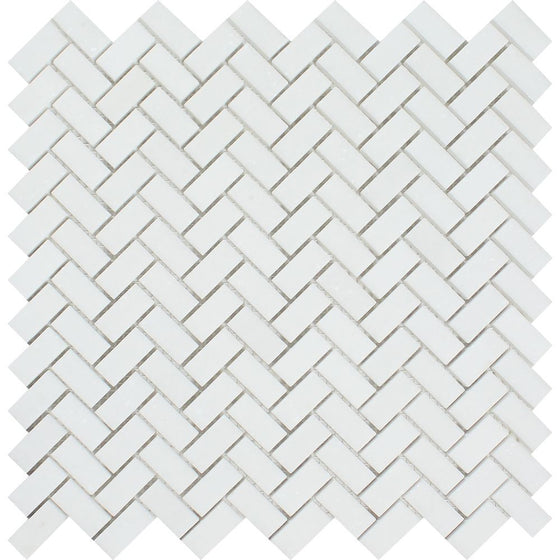5/8 x 1 1/4 Honed Thassos White Marble Mini Herringbone Mosaic Tile - Tilephile