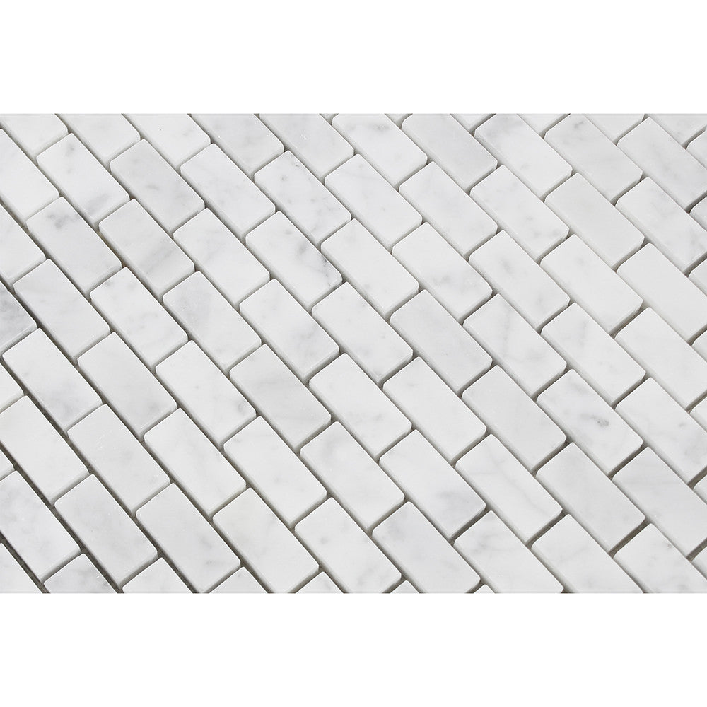 5/8 x 1 1/4 Polished Bianco Carrara Marble Baby Brick Mosaic Tile - Tilephile