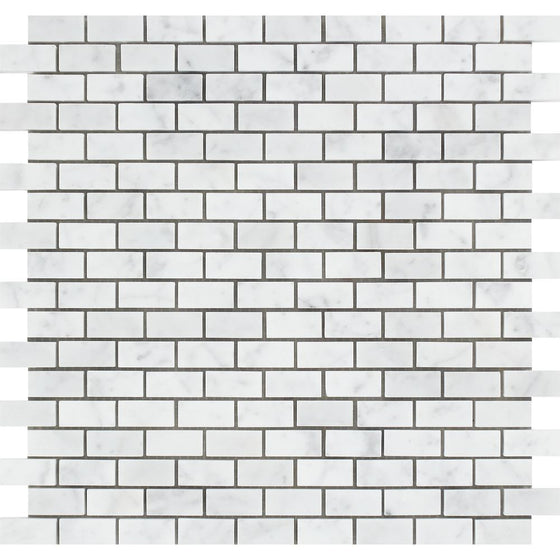 5/8 x 1 1/4 Polished Bianco Carrara Marble Baby Brick Mosaic Tile