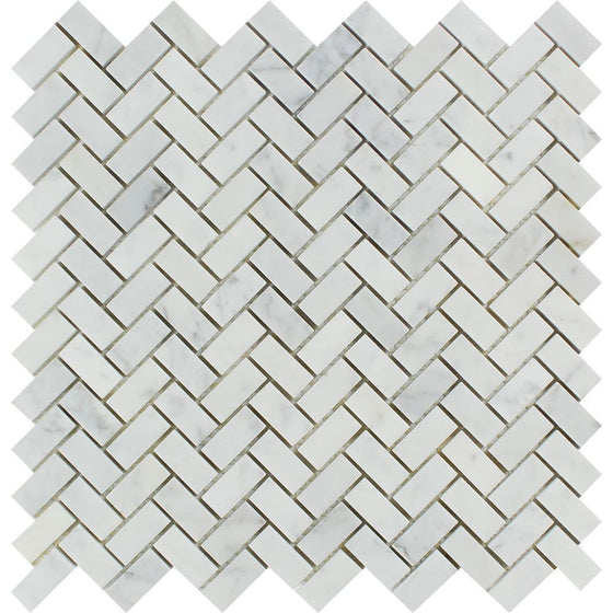 5/8 x 1 1/4 Polished Bianco Carrara Marble Mini Herringbone Mosaic Tile - Tilephile
