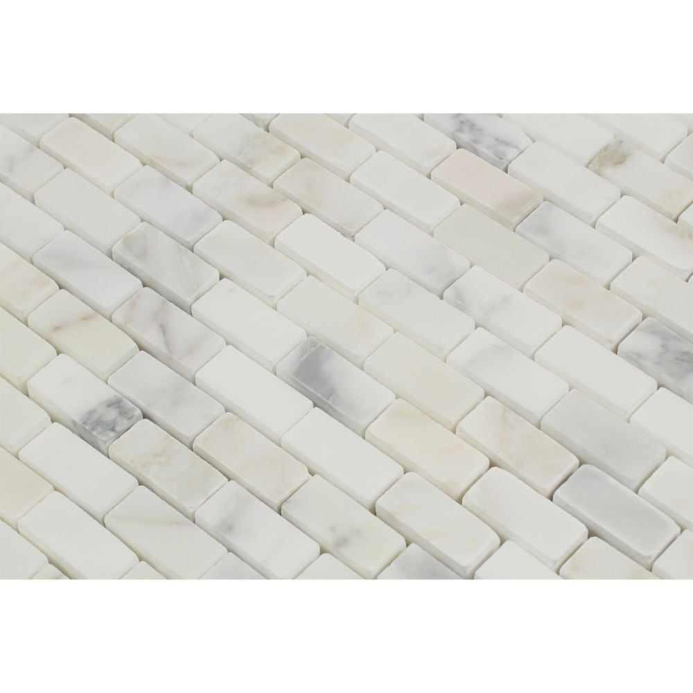 5/8 x 1 1/4 Polished Calacatta Gold Marble Baby Brick Mosaic Tile - Tilephile